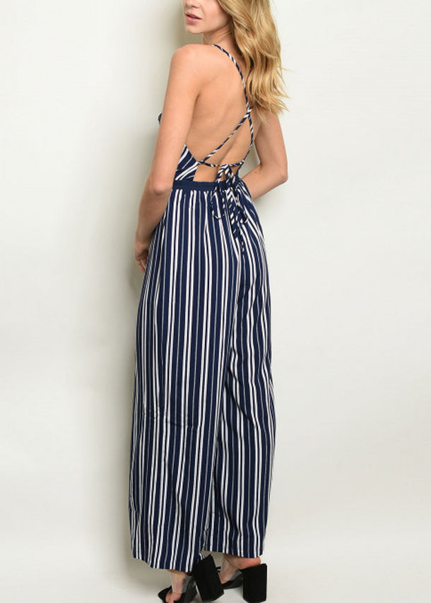 Sleeveless Navy Stripe Jumpsuit