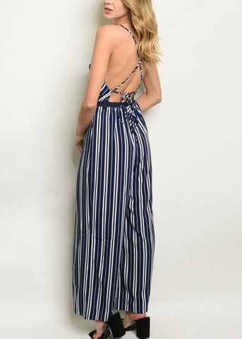 Image of Sleeveless Navy Stripe Jumpsuit