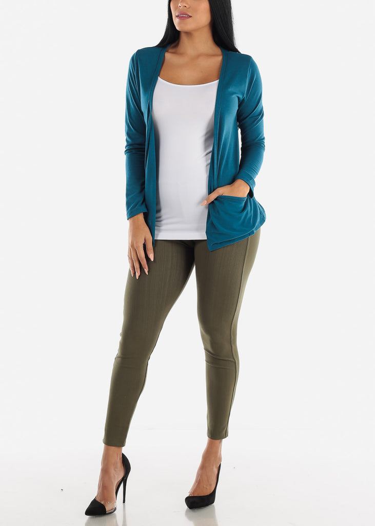 Long Sleeve Open Front Teal Cardigan