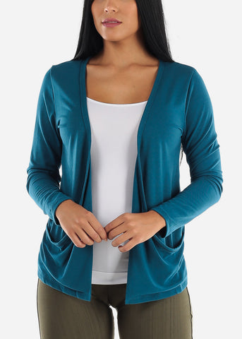 Image of Long Sleeve Open Front Teal Cardigan