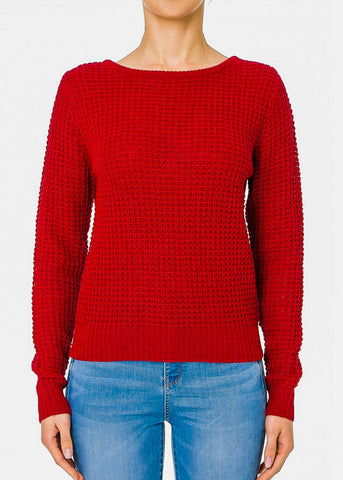 Image of Long Sleeve Burgundy Ribbed Sweater