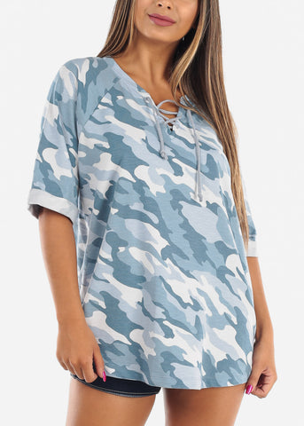 Image of Blue Camo Print Tunic Top