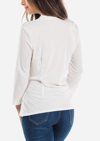 Image of Wrap Front White Blouse