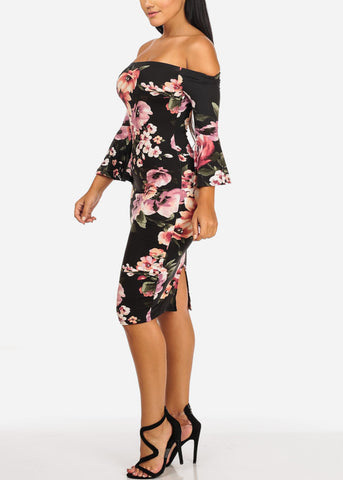 Image of Ruffle Sleeves Floral Print Dress