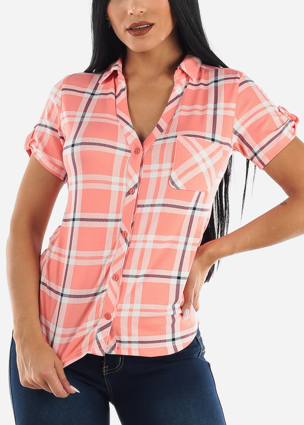 Pink & Ivory Plaid Top