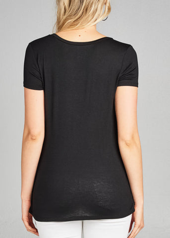 Stylish Lace Up Detail Short Sleeve Solid Black Top