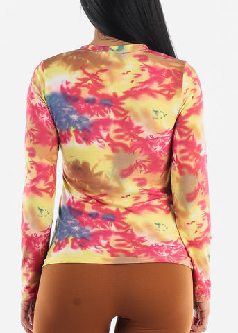 Image of Vneck Tie Dye Yellow Top