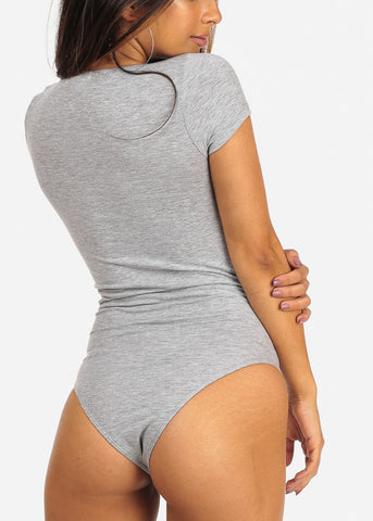 Essential Wrap Front Short Sleeve Sexy Light Grey Bodysuit