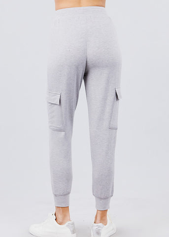 Image of High Waisted Grey Cargo Jogger Pants