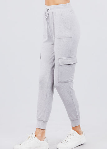 High Waisted Grey Cargo Jogger Pants