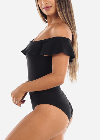 Image of Sexy Cute Essential Off Shoulder Ruffled Basic Solid Black Bodysuit 2019 New Bodysuit Miami Style Modaxpress