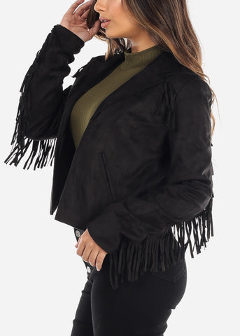 Image of Black Faux Suede Fringe Jacket