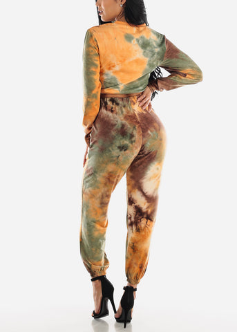 Image of Brown Tie Dye Crop Top & Jogger Pants ( 2 PCE SET)