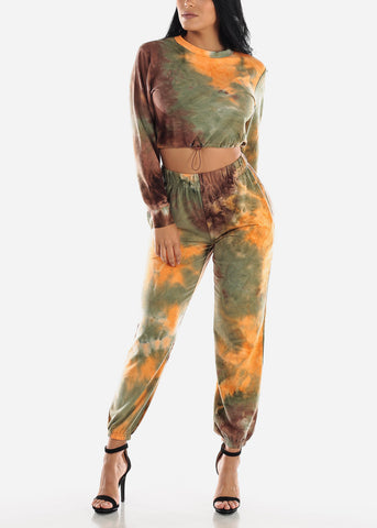 Brown Tie Dye Crop Top & Jogger Pants ( 2 PCE SET)