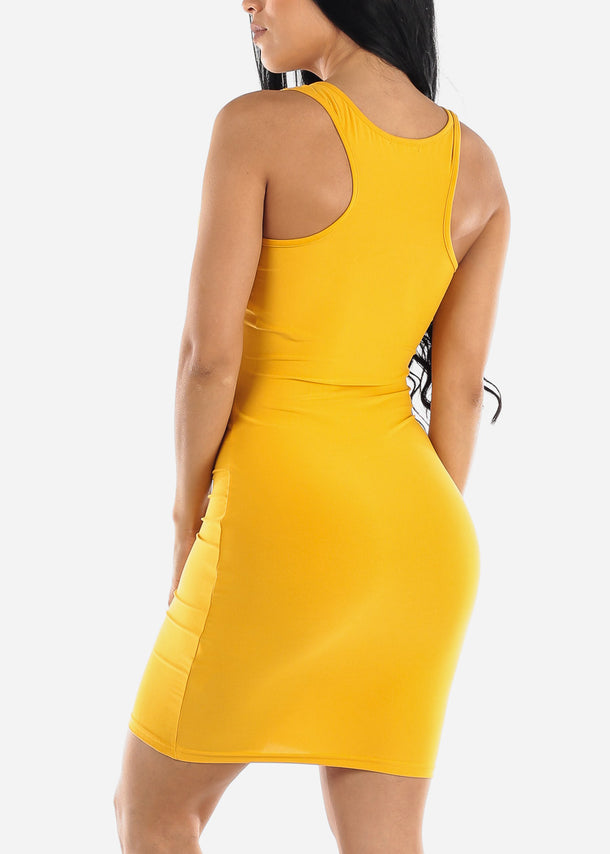 Mustard Bodycon Racerback Dress