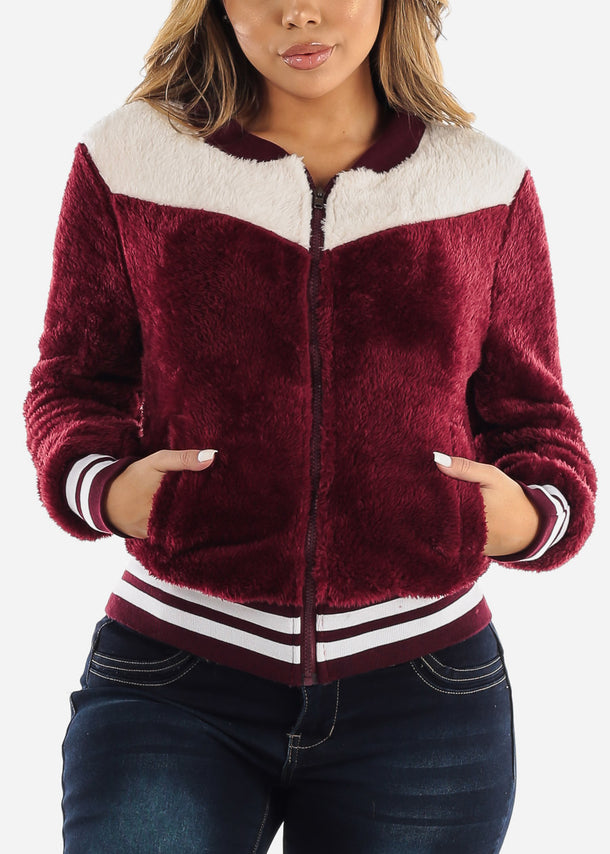 Fluffy Burgundy Bomber Jacket
