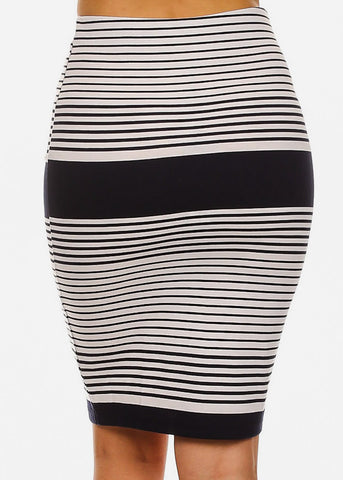 Image of White Stripe Pencil Skirt