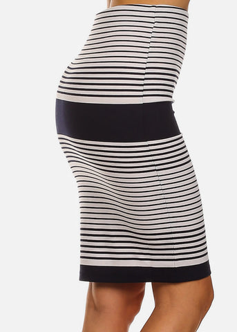 White Stripe Pencil Skirt