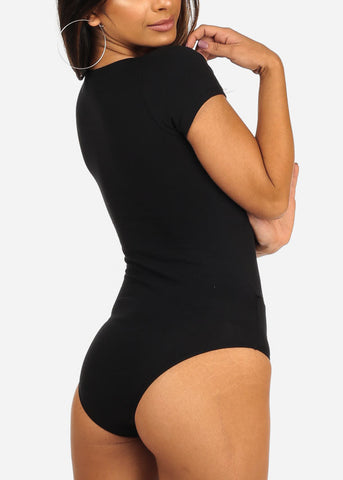 Image of Essential Wrap Front Short Sleeve Sexy Black Bodysuit