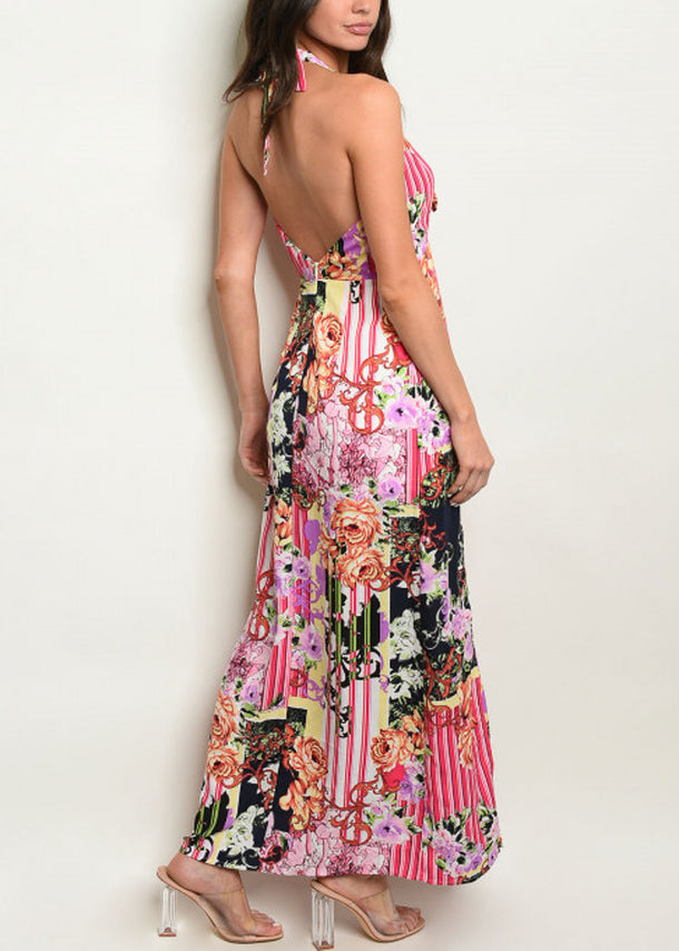 Multicolor Halter Printed Maxi Dress