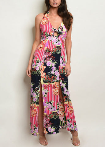 Image of Multicolor Halter Printed Maxi Dress
