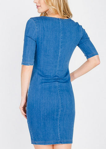 Image of Med Wash Bodycon Denim Dress