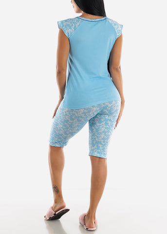 Image of Light Blue Printed Top & Capris (2 PCE PJ SET)