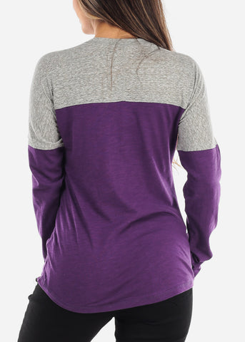 Purple & Grey Colorblock Long Sleeve Shirt
