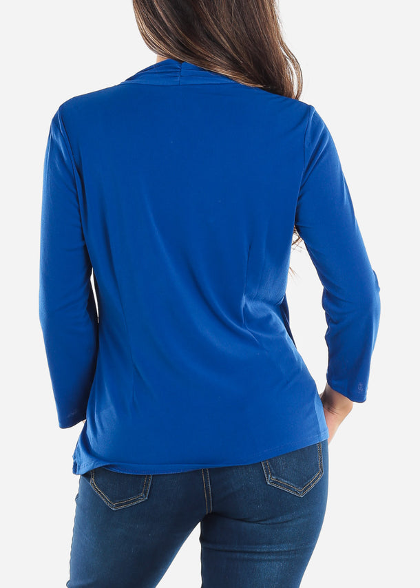 Wrap Front Royal Blue Blouse
