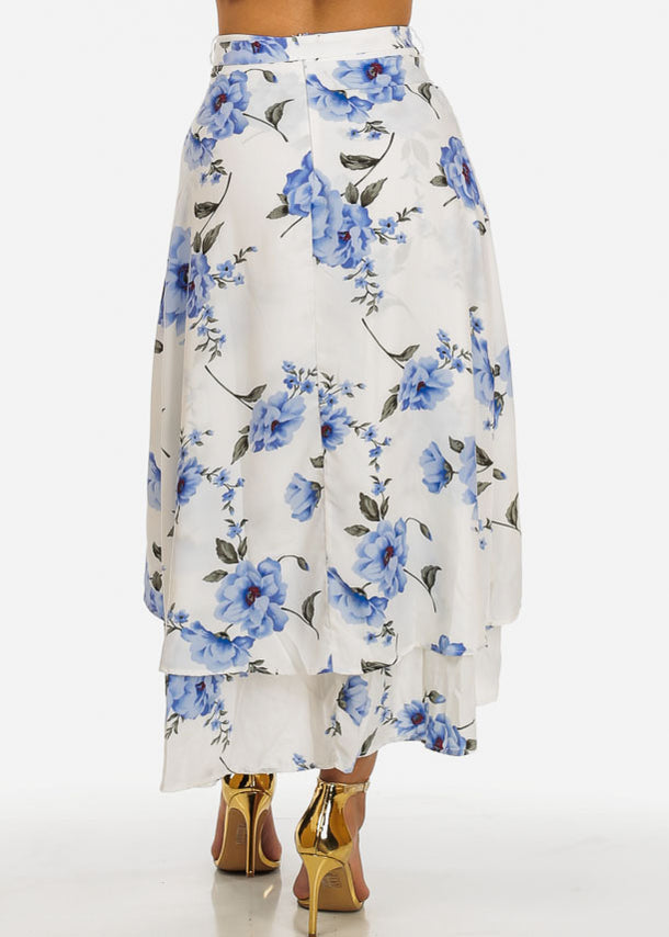 White and Blue Floral Skirt w Belt