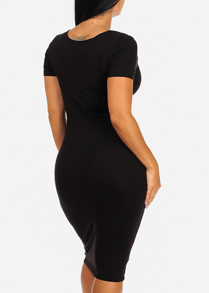 Solid Black Bodycon Midi Dress 4278PBLK