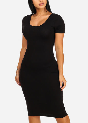 Image of Solid Black Bodycon Midi Dress 4278PBLK