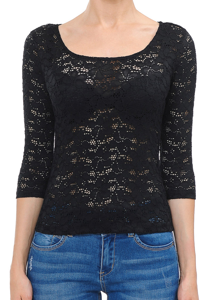 See Through Floral Lace Black Top