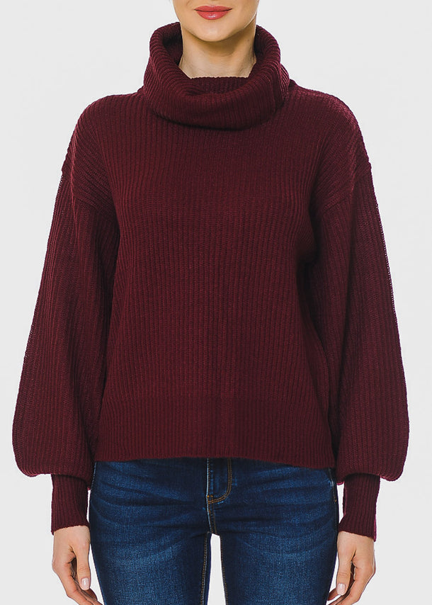 Knitted Burgundy Long Sleeve Sweater