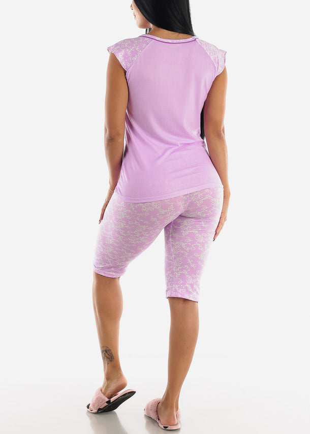 Lilac Printed Top & Capris (2 PCE PJ SET)