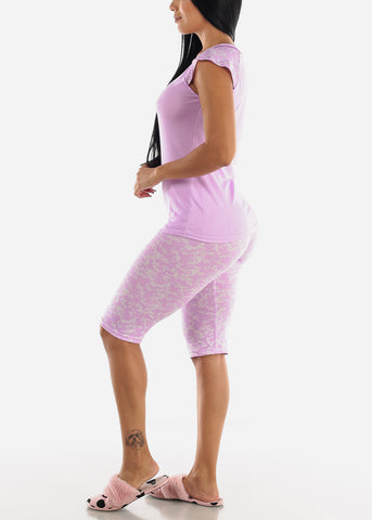 Image of Lilac Printed Top & Capris (2 PCE PJ SET)