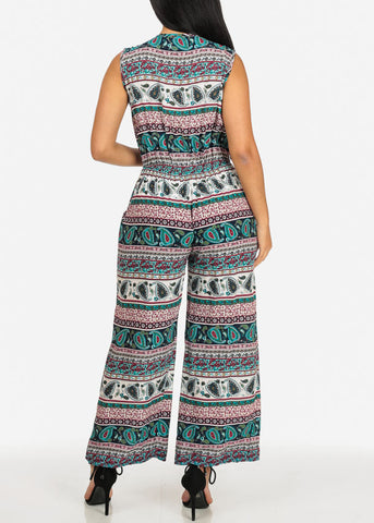 Green and Red Gold Zipper Jumpsuit