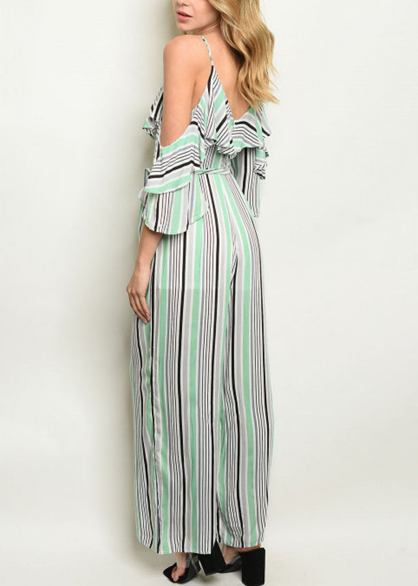 Cold Shoulder Stripe Green Jumpsuit