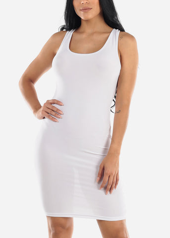 White Bodycon Racerback Dress