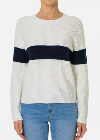 Ivory Long Sleeve Colorblock Sweater