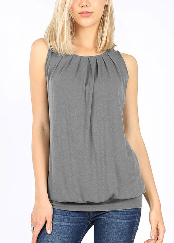 Blue Grey Pleated Top W Waistband