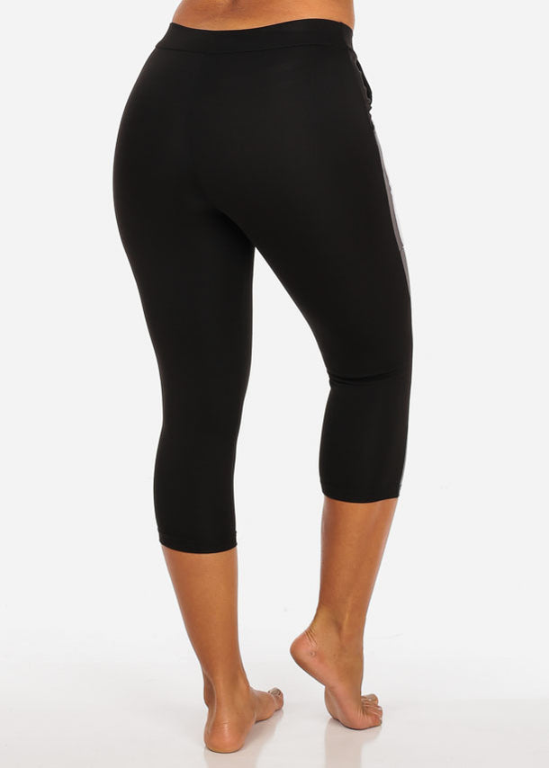 Activewear High Waisted Drawstring Stripe Sides Black Capri Leggings