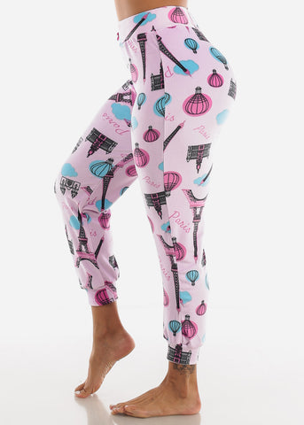 Pink Paris Printed Plush Pajama Pants