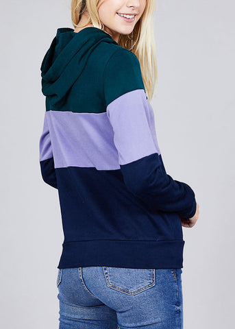 Image of Casual Multicolor Teal Stripe Sweater W Hood