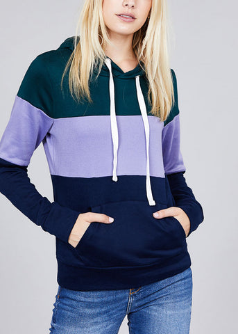 Casual Multicolor Teal Stripe Sweater W Hood