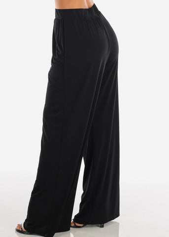 Image of Stylish Comfortable Super Wide Leg Solid Black Palazzo Pants For Women Ladies Junior On Sale Affordable Prices