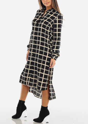 Image of Black Checkered Maxi Shirt Dress