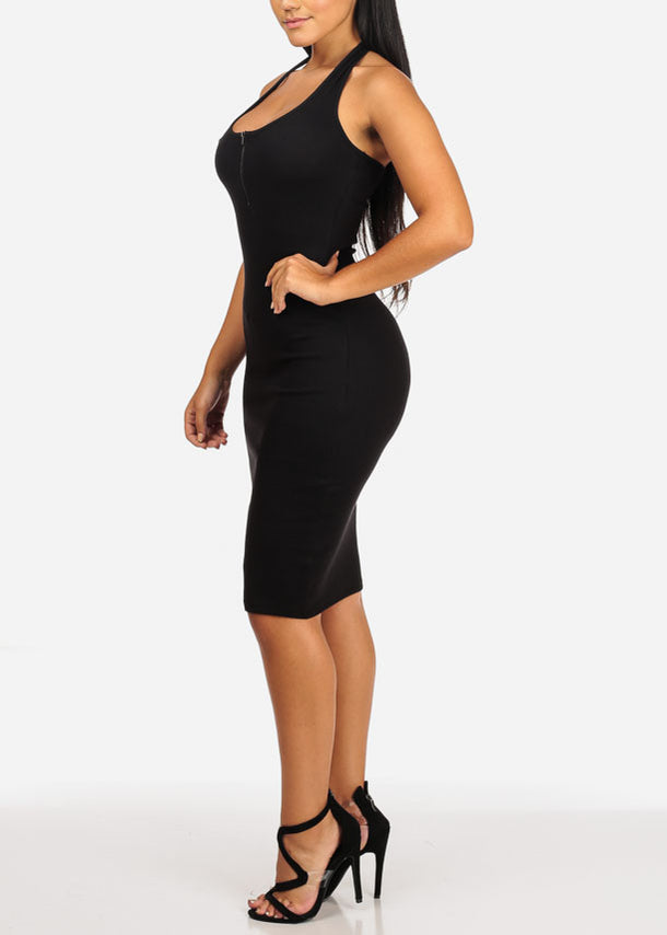 Sexy Halter Black Midi Dress