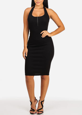 Image of Sexy Halter Black Midi Dress