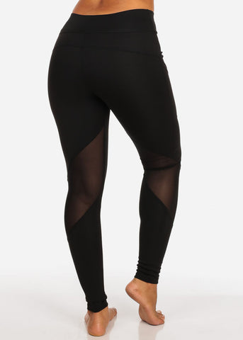 Image of Activewear Black Mesh Sheer High Waisted Leggings W Side Pockets